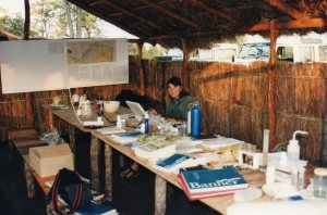 The dining room at SEMG camp with Sasha doing her entomology.