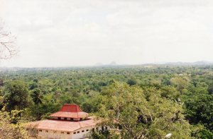 Sigiriya from Dambulla - the two rocks in the far distance.