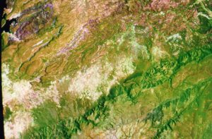 Landsat Satellite Imagery - the white is where the fields were