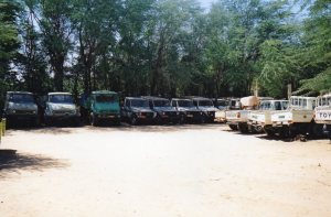 Fleets of trucks with which to attack the locusts